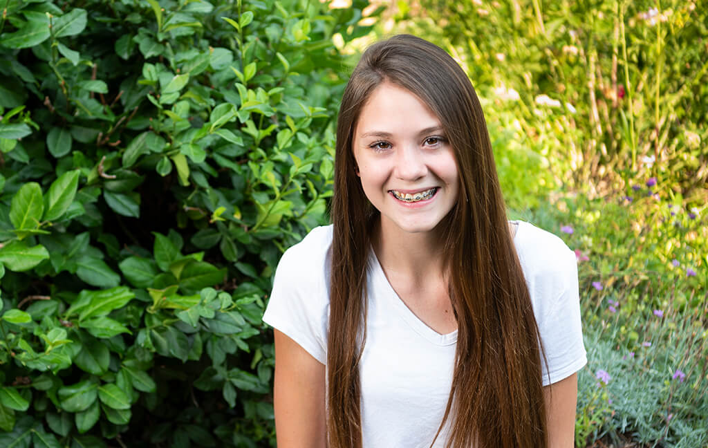 Girl smiling with braces
